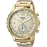 Fossil Q Men's Nate Stainless Steel Hybrid Smartwatch, Color: Gold-Tone (Model: FTW1142) (Color: Gold)