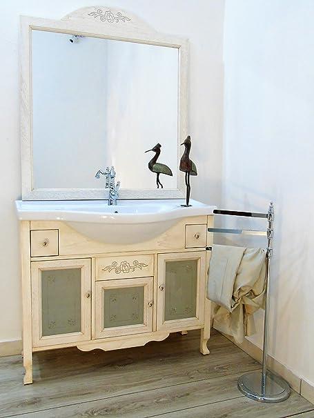 Arredo bagno contemporaneo avorio decape decapato con vetri decorati mobile bagno
