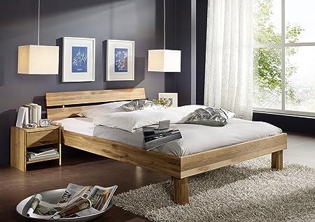 SAM® Massivholz Wildeiche Bett Columbia 120 x 200 cm mit geteilter Ruckenlehne, geölt, zeitloses Design fur Ihr Schlafzimmer