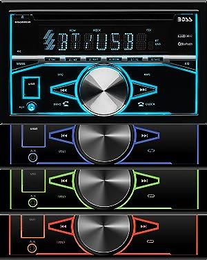 BOSS Audio 850BRGB Car Stereo - Double Din, Bluetooth, CD/MP3/USB AM/FM Radio, Multi Color Illumination
