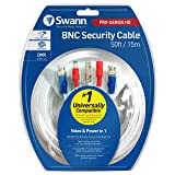 Swann 15m/50ft BNC 960H/AHD/TVI Extension Surveillance Camera Cable, White (SWPRO-15MTVF-GL) (Color: white, Tamaño: 50 feet)