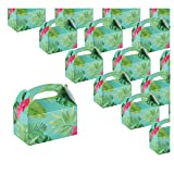 Treat Boxes - 24-Pack Paper Party Favor Boxes, Tropical Floral Design Goodie Boxes for Birthdays and Events, 2 Dozen Party Gable Boxes, 6 x 3.3 x 3.6 inches (Color: Tropical Floral)