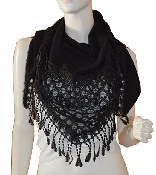 Triangle Knit & Lace Fashion Scarf