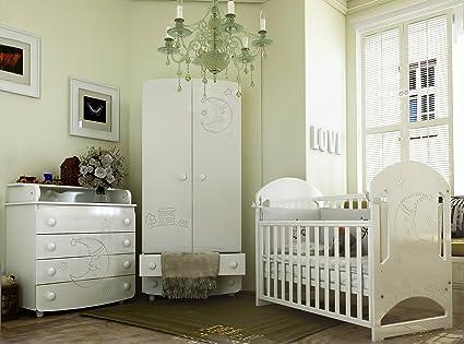 """Babyzimmer ROME """"MOON""""Art.-Nr.: 08.1.06; 25.6.06; 28.1.06, Kinderzimmer Komplett Set 3-tlg., in Weiß, Kleiderschrank B: 90 cm, Wickelkommode B: 90 cm, Babybett Liegefläche 60 x 120 cm"""