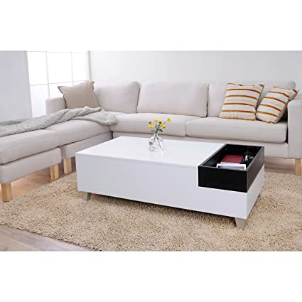 Metro Shop Furniture of America June White Coffee Table with Serving Tray