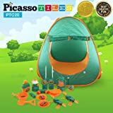 PicassoTiles PTC20 20 Piece Camping Gear Tools Adventure Set including Walkie Talkie, Camping Tent, Binoculars, Watch, Thermometer, Compass & Whistle, Stove, and Other Camp Tools