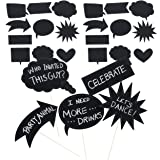 Juvale 60-Pack Writable Chalkboard Photo Booth Props for Weddings and Parties, Assorted (Color: Black)