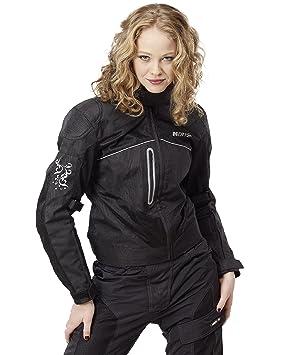 NERVE 1510011304_08 Run Girl Blouson Moto d'Eté Textile Femme, Noir, Taille : 48