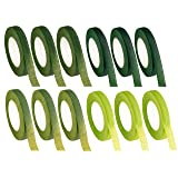 Floral Tape - 12-Pack Florist Tape, Green Floral Adhesives, Perfect for Bouquet Stem Wrapping, Floral Arrangement and Crafts, 0.47 Inches x 30 Yards, 4 Green Shades (Color: Light Green, Green, Grass Green and Dark Green)