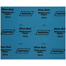 Norton T414 Blue-Bak Abrasive Sheet, Paper Backing, Silicon Carbide, Waterproof