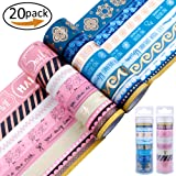20 Rolls Washi Masking Tape Gold Blue&Gold Pink Set,Great for DIY Decor Scrapbooking Sticker