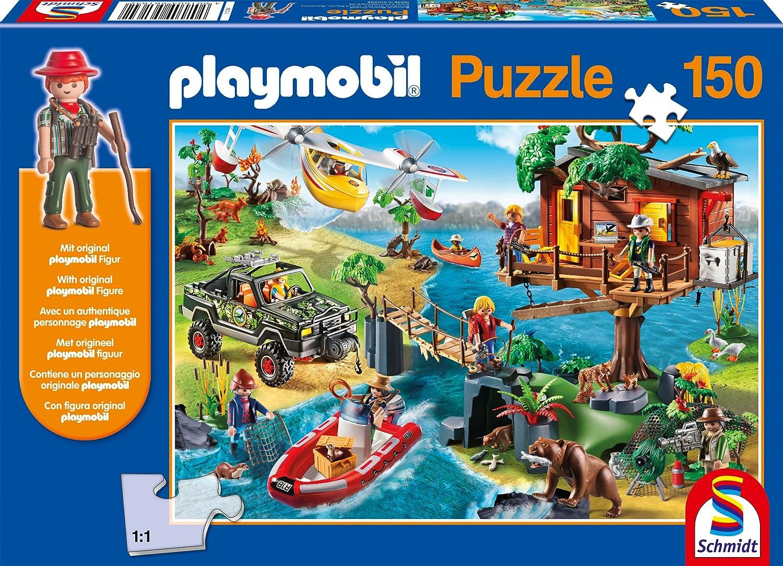 Schmidt Spiele 56164 – Playmobil, Baumhaus, 150 Teile, Klassische Puzzle, inklusive Figur als Geschenk