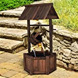 Giantex Wishing Well Water Fountain Rustic Wooden Outdoor Garden Decorative Fountain Backyard w/Electric Pump (Color: Brown)