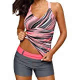 Aleumdr Womens Beach Athletic Printed Strappy Racerback Summer Padded Tankini Swim Top No Bottom Medium Size Multicoloured (Color: As Picture, Tamaño: Medium (US 8-10))