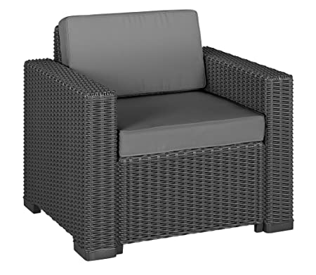 Allibert 212351 sedia Lounge California Chair, in plastica effetto rattan, colore: grafite, Set da 2 pezzi
