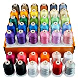 New brothread 42 Spools 1000M (1100Y) Polyester Embroidery Machine Thread Kit for Professional Embroiderer and Beginner (Color: 60 Brother Colors+2 White+2 Black, Tamaño: 1000M(1100Y))