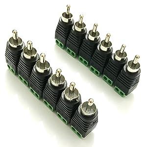 Ksmile® 12pcs UTP Cat5/Cat6 Cable to AV RCA Male Screw Terminal Audio/Video Connector / Phono RCA Male Plug to AV Screw Terminal Plug Connector (12 Male Adapters)