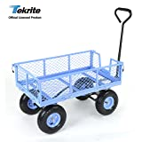 TEKRITE Heavy Duty Lawn/Garden Utility Cart/Wagon With Removable Side Meshes, 400 lbs Capacity, Blue (Color: Blue)