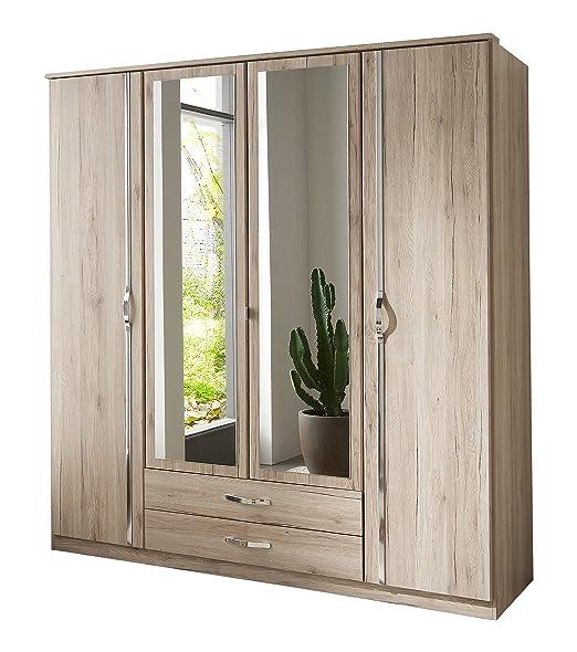 Wimex 064453 Kleiderschrank 4-turig mit zwei Schubkästen und Spiegelturen, San Remo Eiche Nachbildung Aufleistung, chrom