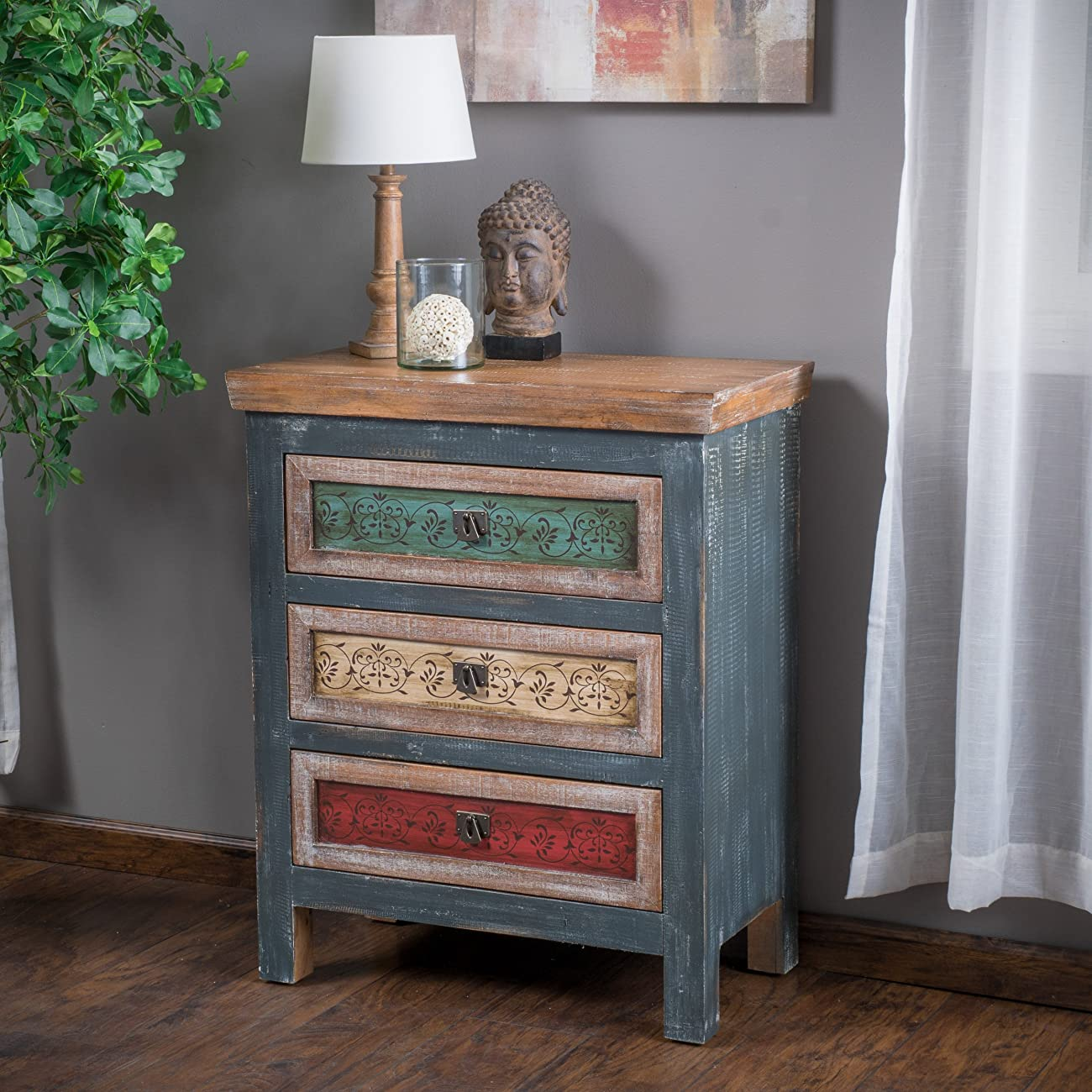Leo Solid Wood 3 Drawers Chest Cabinet in Weathered Multi-colored Finish 0