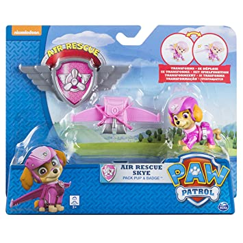 Paw Patrol – Air Rescue – Stella – Figurine Pat' Patrouille 6 cm + Badge