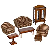 Melissa & Doug Classic Victorian Wooden and Upholstered Dollhouse Living Room Furniture (9 pcs) (Color: Brown, Tamaño: H: 11.2 x W: 9.2 x D: 3.5)