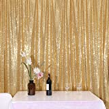 PartyDelight Sequin Backdrop 4FTX6.5Ft Sparkly Gold for Wedding Curtain, Party, Photo Booth. (Color: Sparkly Gold, Tamaño: 4X6.5)