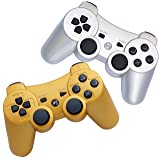 FSC Pack of 2 Mixed colors PS3 Wireless Remote Controller GamePad for use with PlayStation 3 (Golden/Silver)