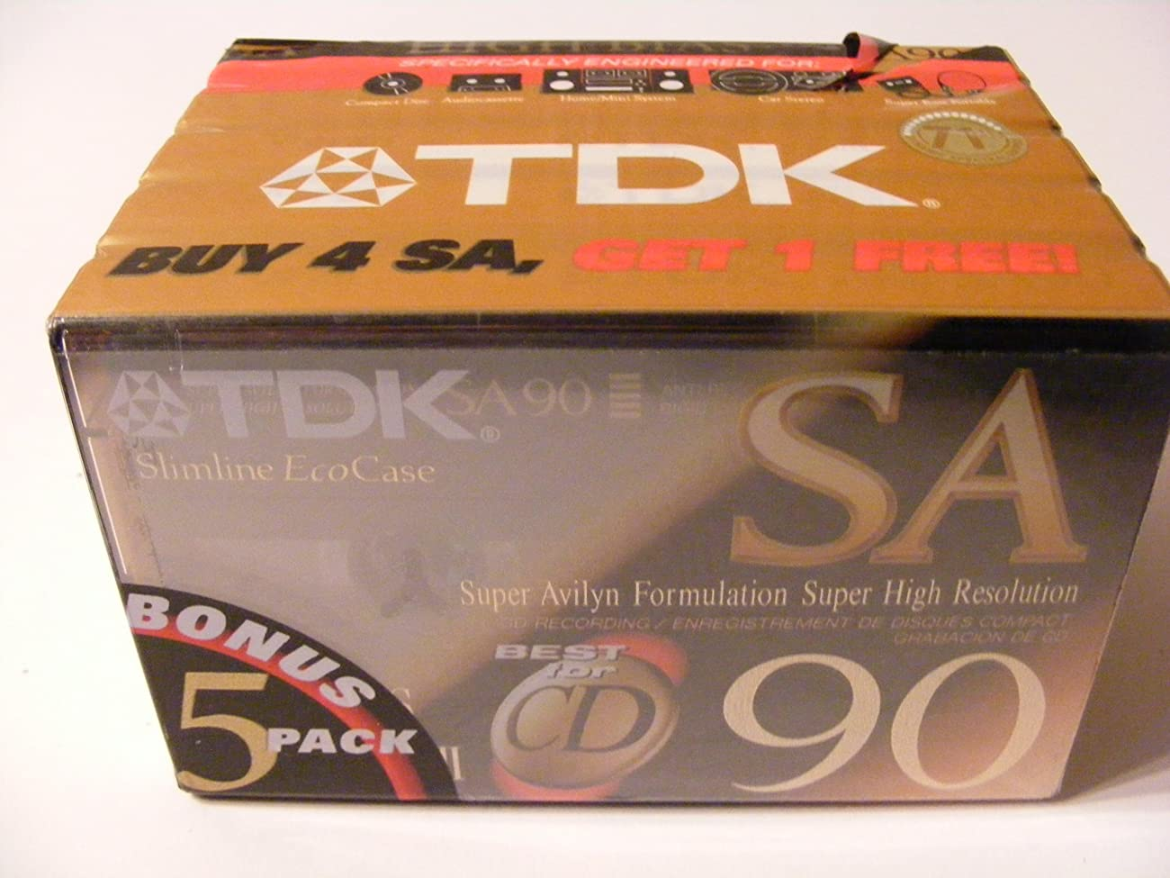 TDK SA90 High Bias Cassettes -5-Pack (Discontinued by Manufacturer) 0