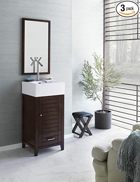 Ronbow 032618-3-F07_Kit_1 Elise Bathroom Vanity Set in Vintage Walnut with White Ceramic Vessel & Contemporary Mirror, 18""