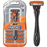BIC Comfort 3 Hybrid Men's Disposable Razor, One Handle, 12 Cartridges
