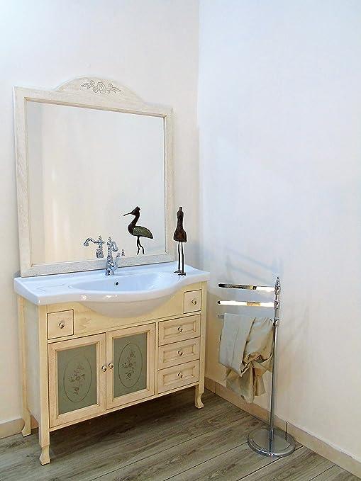 Arredo bagno avorio decape contemporaneo shabby chic ante in vetro mobile bagno