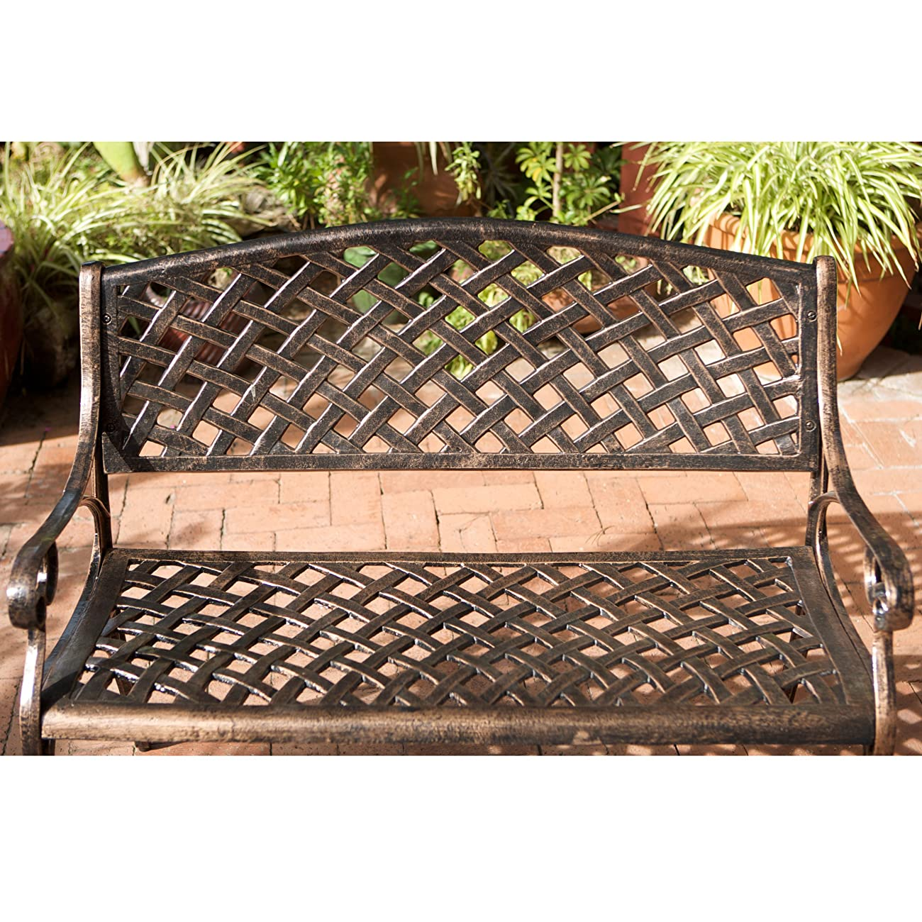 Best Selling Cozumel Cast Aluminum Bench, Antique Copper Finish 2