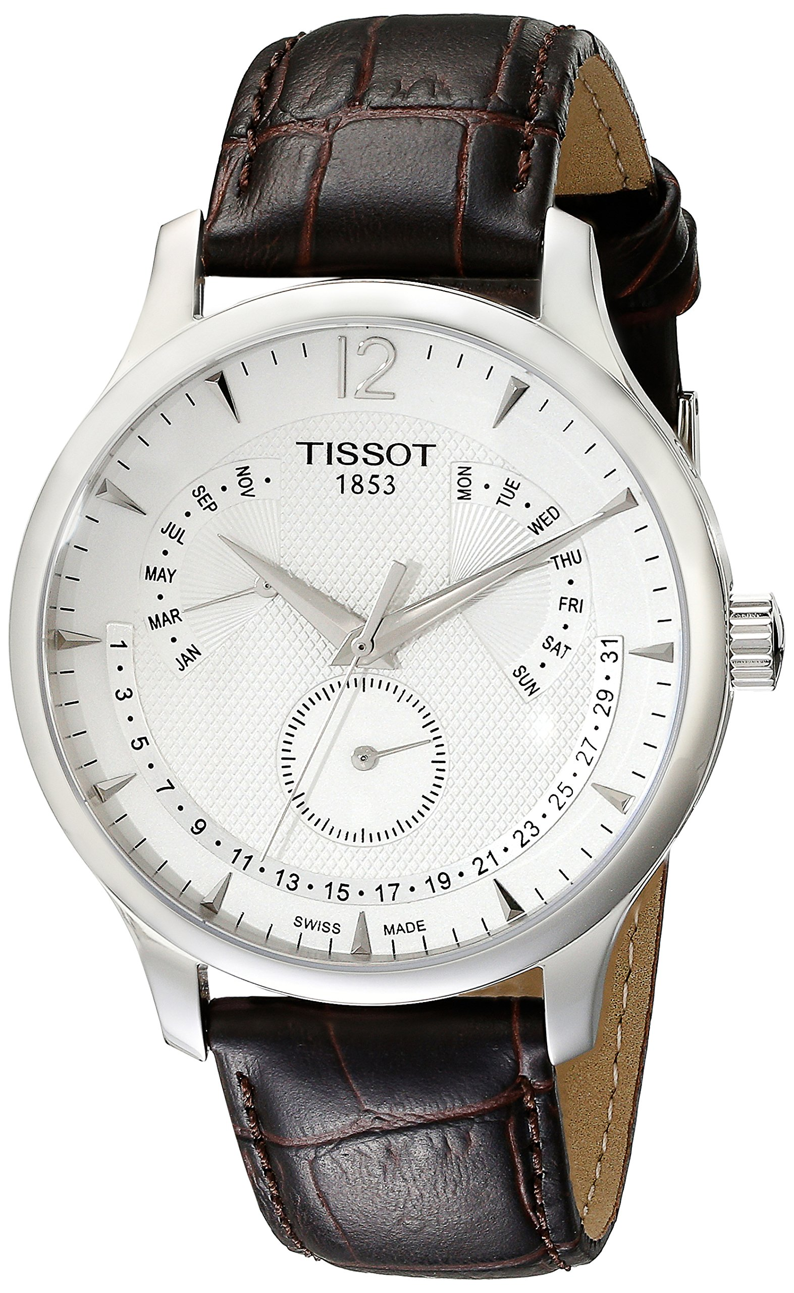 Tissot Men's T0636371603700 Stainless Steel Watch With Brown Synthetic Band