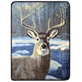 Plush Velour Winter Deer Oversized Animal Throw Blanket