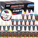 U.S. Art Supply 24 Color Acrylic Airbrush, Leather & Shoe Paint Set Opaque Colors plus Reducer, Cleaner & Color Mixing Wheel (Color: 24-color Deluxe Set, Tamaño: 24-Color Deluxe Set)