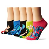 Disney Women's Lilo and Stitch 5 Pack No Show, Assorted Bright, fits Sock Size 9-11 fits Shoe Size 4-10.5
