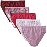 Just My Size Women's 5 Pack Cotton Hi Cut Assorted Panty, 10 (Color: Assorted, Tamaño: 10)