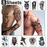 Large Temporary Tattoos for Guys for Men & Teens Fake Tattoo Stickers (8 Sheets) Biker Tattoos, Rocker Transfers for Arms Shoulders Chest & Back - Boys Tattoos Body Art Tattoo Sticker Waterproof Black (Color: Saturn Collection)