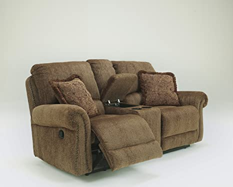 Macnair Umber Tone Thick Chenille Fabric Double Reclining Loveseat With Console