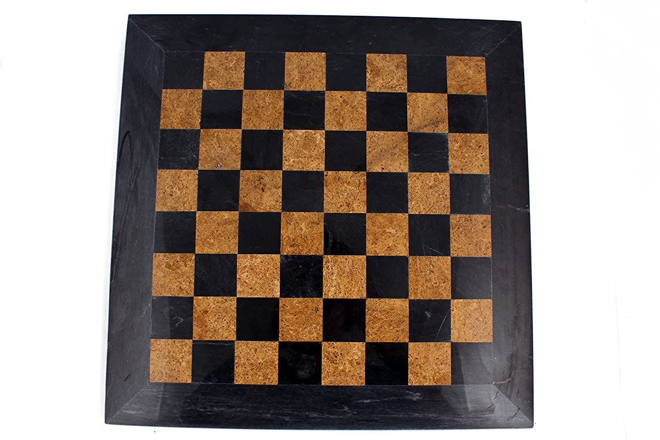 RADICAL 16 Inches Handmade Black and Golden Original Hand Crafted Marble Full Chess Game Set 3