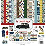 Echo Park Paper Company ADT155016 A Dog's Tail Collection Paper, 12-x-12, Yellow, red, Navy, Sky Blue, Brown, Green (Color: Yellow, Red, Navy, Sky Blue, Brown, Green,, Tamaño: 12-x-12