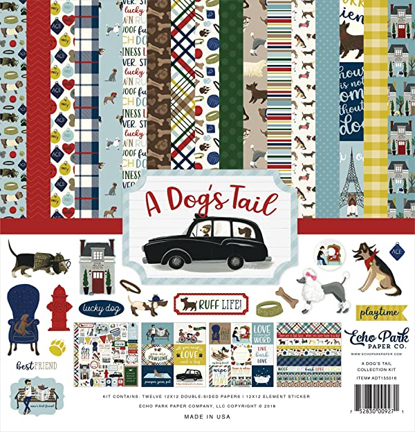 Echo Park Paper Company ADT155016 A Dog's Tail Collection Paper, 12-x-12, Yellow, red, Navy, Sky Blue, Brown, Green (Color: Yellow, Red, Navy, Sky Blue, Brown, Green,, Tamaño: 12-x-12)