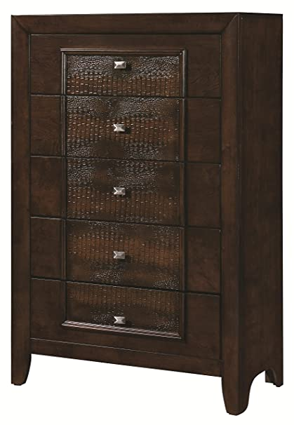 5-Drawer Chest in Brown Finish