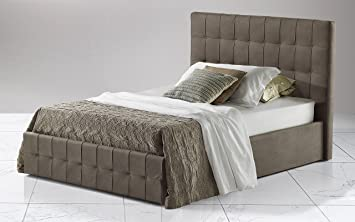 Dafnedesign.com - Letto una piazza e mezza con contenitore Similpelle grigio cm. 140 x 210 x 116h