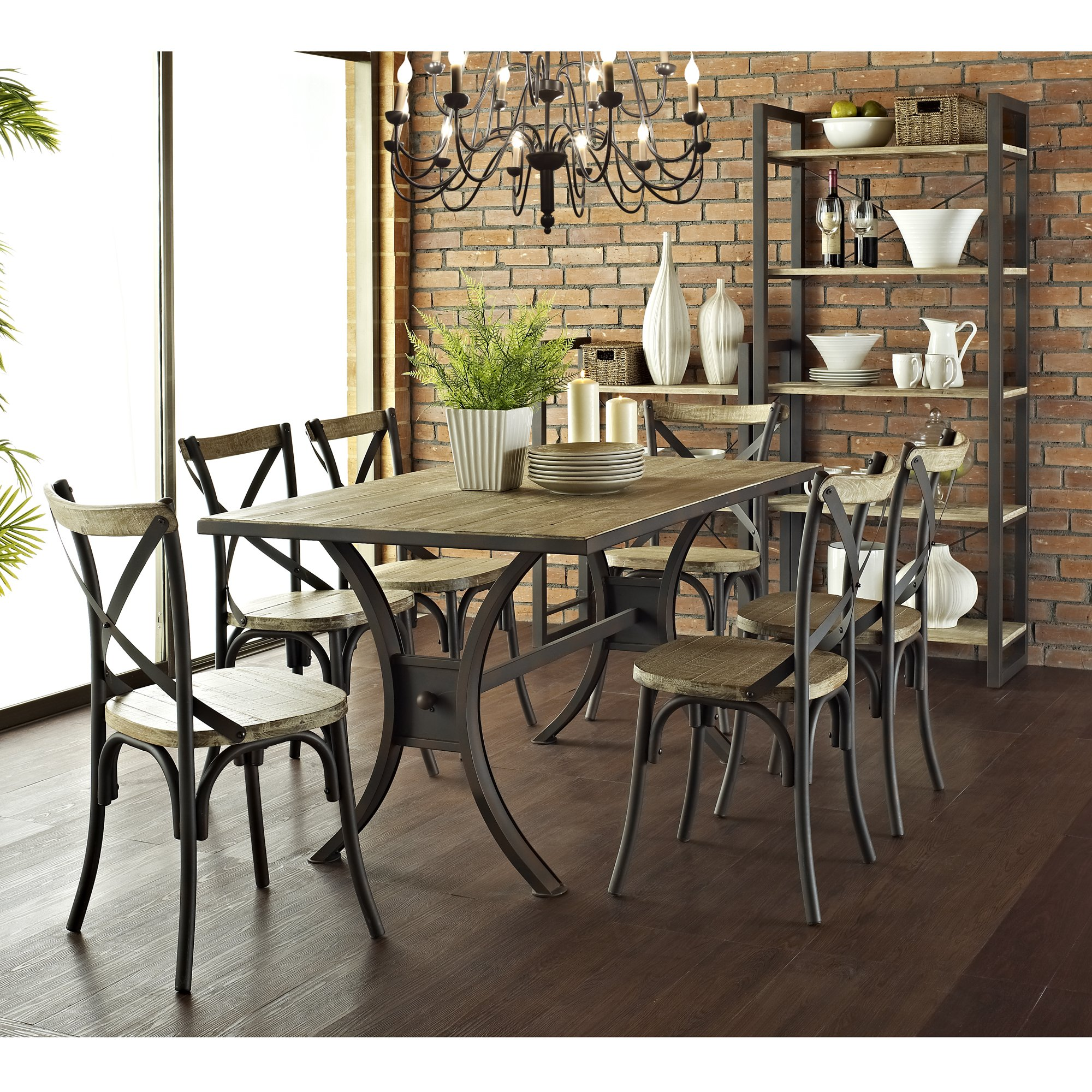 Industrial reclaimed solid wood dining chairs set of 2 for Kitchen set industrial