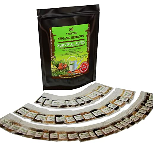 #1 Heirloom 100% ORGANIC Vegetable Garden SURVIVAL Seeds, 50 Varieties, LIFETIME SATISFACTION GUARANTEE! NON-GMO, NON-Hybrid, ALL-NATURAL, 9500+ Seeds! Germination 85%+! PERFECT for Survival Gardeners OR Health Food Enthusiasts! + Bonus FREE Guide!