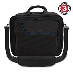 USA GEAR Console Carrying Case Compatible with Playstation 4 / PS4 Slim & PS4 Pro with Accessory Storage for Controllers, Cables, Headsets & Padded Shoulder Strap - Fits All PS4 & PS3 Models - Blue (Color: Black and Blue)