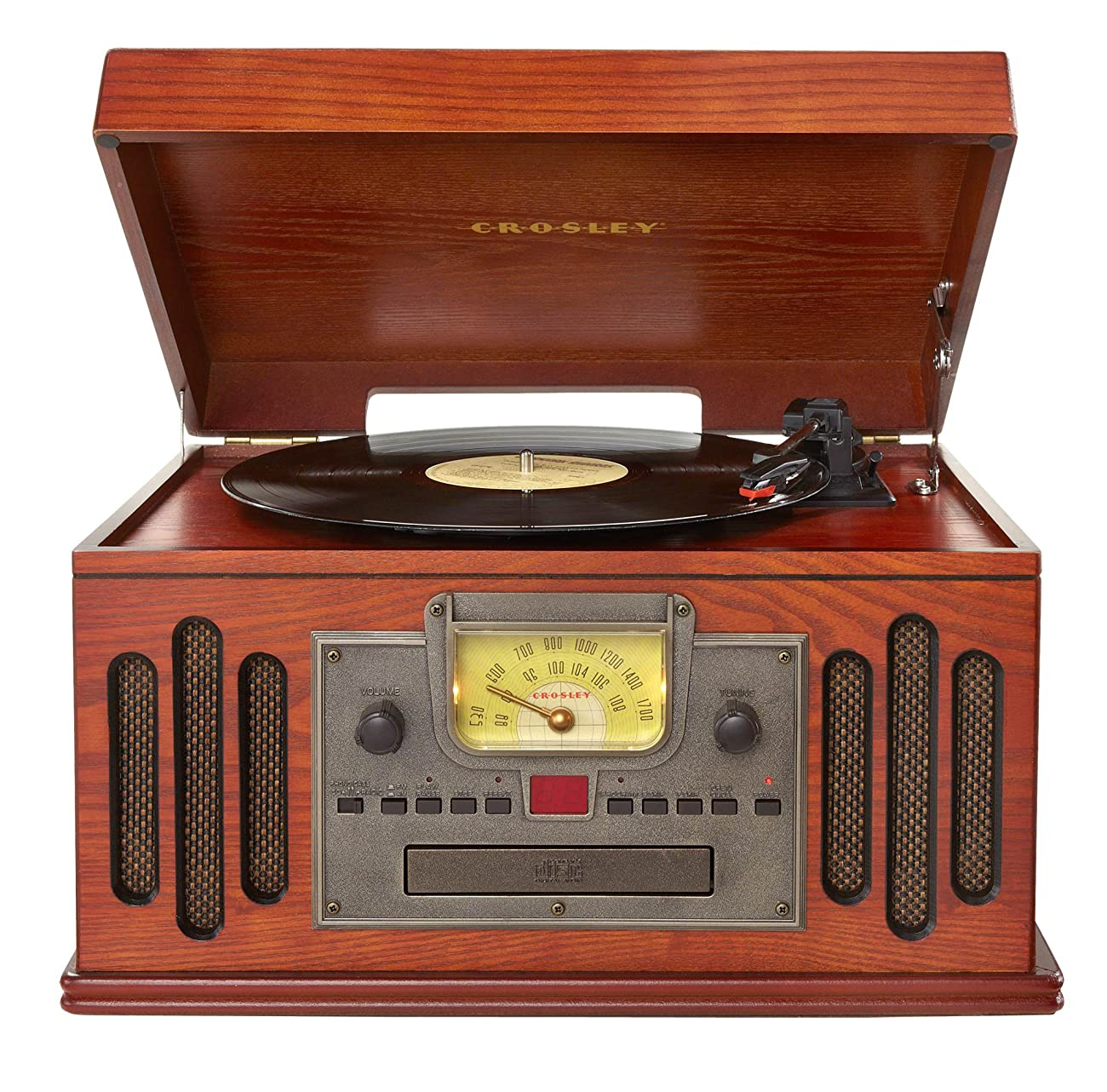 Crosley CR704C-PA Musician Turntable with Radio, CD Player, Cassette and Aux-In, Paprika 0
