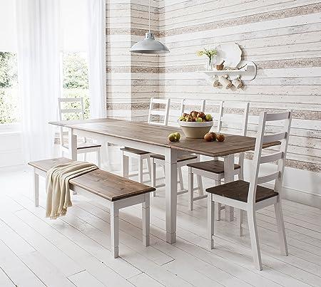 Conjunto de mesa y 4 sillas y mesa de comedor extensible con banco de Canterbury 2 x de extensión